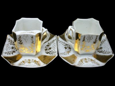 Moustache Cup German His and Hers Cup and Saucer Set