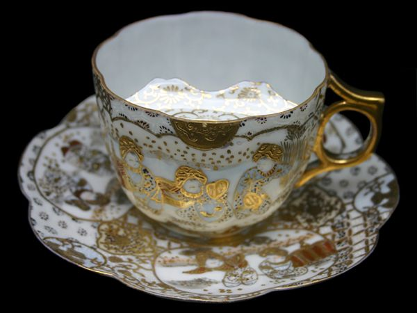 Moustache Cup With Japanese Nippon Hand Gilded Pattern