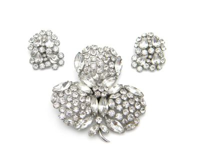 New Sherman Nov 2010/Sherman Brooch and Earring Set White Crystal 1 Cynthia Findlay Antiques