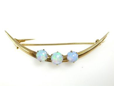 Opal Crescent Brooch