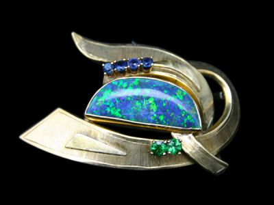 Brooch 14karat Yellow-Gold Opal Green Garnet and Sapphire