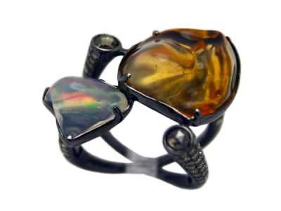 Modern Opal and Diamond Ring