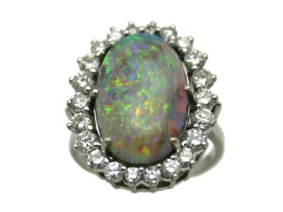 Opal Jewellery/Ring Platinum Black Opal and Diamond Ring 58752 1
