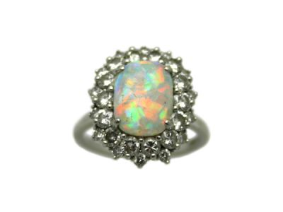Opal Jewellery/Ring Platinum Opal and Diamond Custom-Made 32872 1