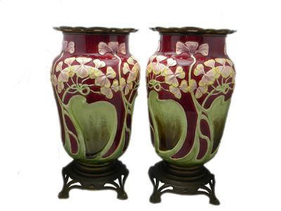 Pair of Austrian Majolica Vases  Mj010 1