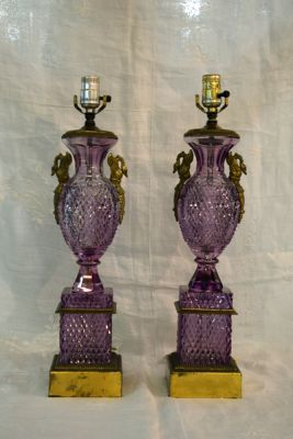 Pair of Baccarat Amethyst Glass Lamps  1