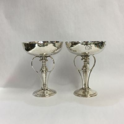 Pair of Edwardian Hand-Hammered Sterling Silver Tazzas - 1
