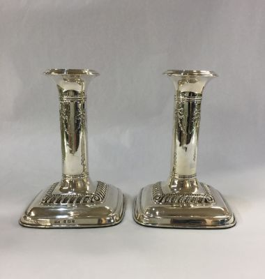 Pair of English Silver Candlesticks