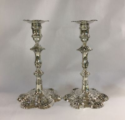 Pair of English Silver Candlesticks Alexander Johnston London 1756