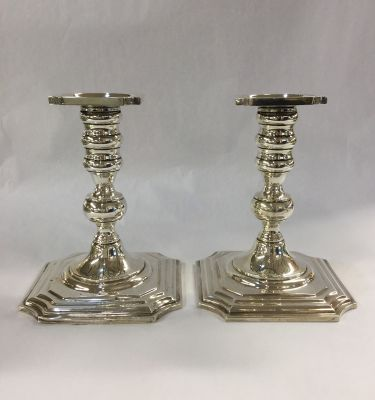Pair of North American Sterling Silver Candlesticks
