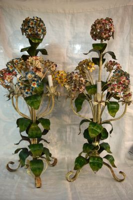 Pair of Painted Metal Botanical Lamps  1