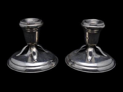 Pair of Silver Petersen Candlesticks  Sv009