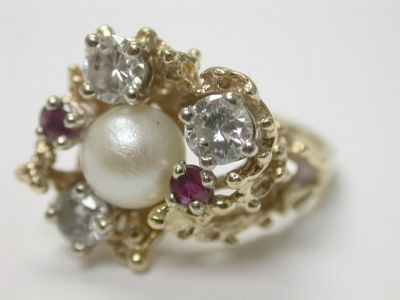 Pearl and Diamond Ring CFA140116