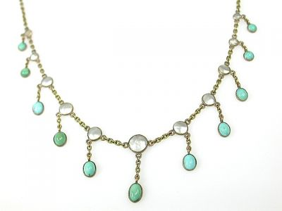 Pearl and Turquoise Fringe necklace CFA130877