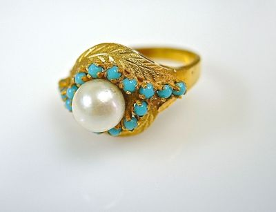 Pearl and Turquoise Ring CFA140658