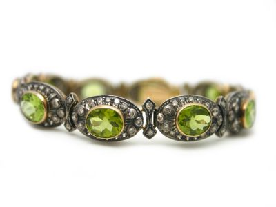 Peridot Jewellery/Bracelet 18kt Yellow Gold with Silver Top Peridot and Diamond PB001 1 64016