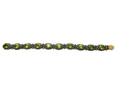 Vintage Style Peridot and Diamond Bracelet