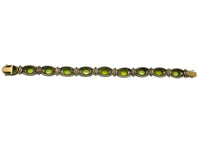 Peridot Jewellery/Bracelet 18kt Yellow Gold with Silver Top Peridot and Diamond PB001 4 64016