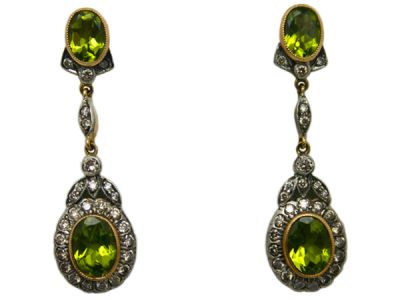 Peridot Jewellery/Earrings 18kt Yellow Gold with Silver Top Peridot and Diamond PE005 1 64194
