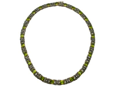 Peridot Jewellery/Necklace 18kt Yellow Gold with Silver Top Peridot and Diamond PN002 1 64228