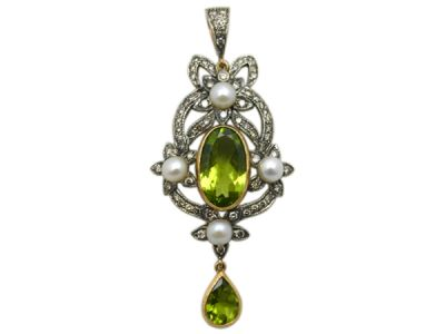 Peridot Jewellery/Pendant 18kt Yellow Gold with Silver Top Peridot and Diamond PP002 1 63727