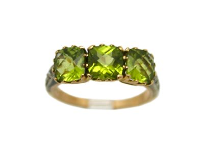 Peridot Jewellery/Ring 18kt Yellow Gold with Silver Top 3 Stone Peridot and Diamond PR001 1 64166