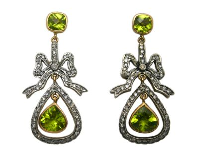 Vintage Peridot and Diamond Bow Drop Earrings