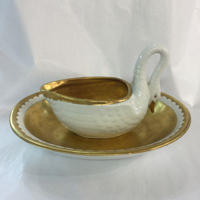 Portuguese porcelain white and gold Swan sauce boat and stand c