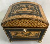 Regency Penwork Sycamore Work Box.  English, circa 1830