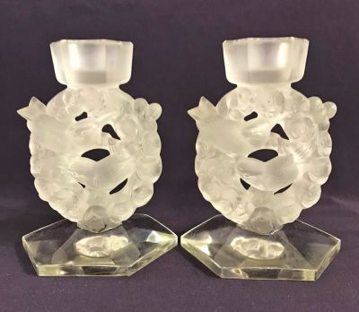 Rene Lalique Frosted   Clear Glass Candlesticks 3