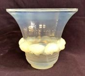 Rene Lalique Opalescent Glass Vase In The Piriac Pattern