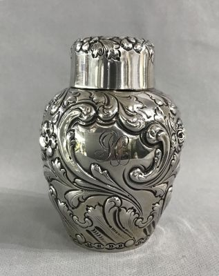 Repousse Sterling Silver Tea Caddy