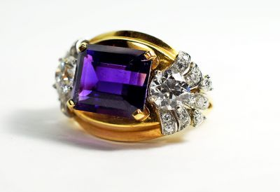 Retro Amethyst and Diamond Ring