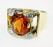 Retro Citrine and Diamond Ring
