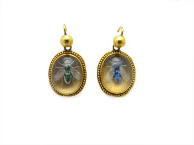 Victorian Reverse Crystal Hand Painted Fly Earrings