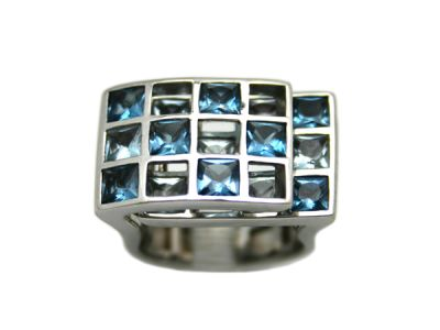 Ring 14Karat White Gold Aquamarine and Topaz 1 Cynthia Findlay Antiques
