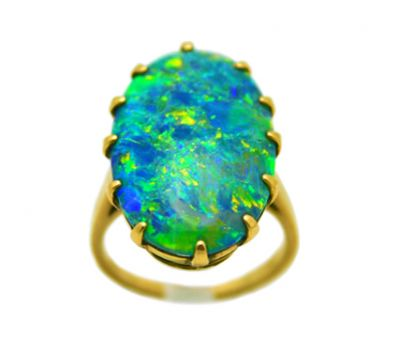 Ring 14Karat Yellow Gold Opal Solitaire