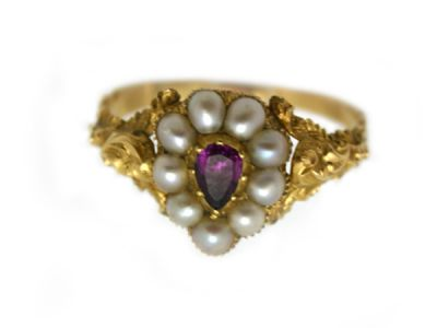 Ring 9karat Ruby and Seed Pearl 1 Cynthia Findlay Antiques