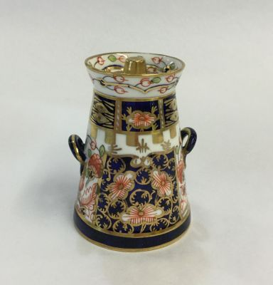 Royal-Crown-Derby-Imari-Pattern-6299-Derby-Witches   -Pattern- Miniature-Butter-Churn