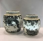Royal Crown Derby Black Aves Ginger Jars