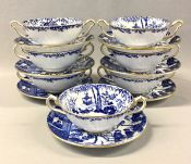 Royal Crown Derby Blue Mikado Cream Soup Bowls and Stands