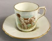 Royal Crown Derby Irish Red and White Setter Coffee Can & Saucer