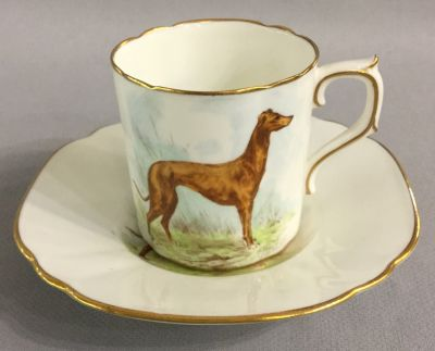 Royal Crown Derby Greyhound Coffee Can   Saucer d