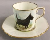 Royal Crown Derby Scottish Terrier Coffee Can & Saucer