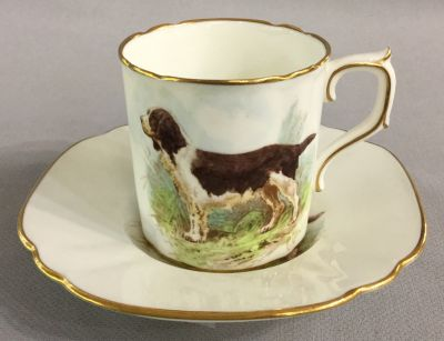 Royal Crown Derby Welsh Springer Coffee Can & Saucer