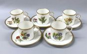 Royal Worcester Hand Painted Coffee Cans and Saucers