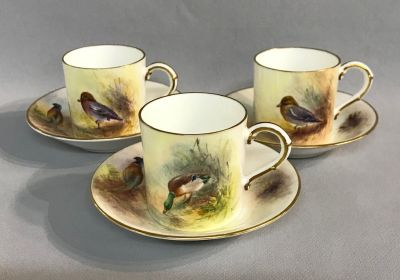 Royal Worcester Hand Painted Coffee Cans and Saucers of Wild Birds