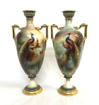 Royal Worcester Cabinet Vases Depicting Peacocks In An Exotic Locale