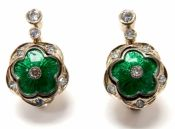Russian Diamond and Enamel Earrings