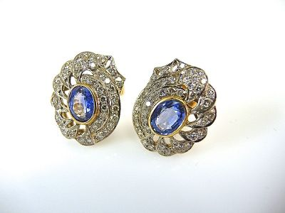 Vintage Inspired Sapphire and Diamond Earrings